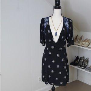 Free People olive floral Mockingbird Dress